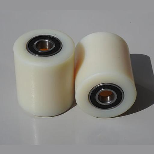 FRONT ROLLER WHEELS 74X70MM BEARINGS 2XSOLID NYLON